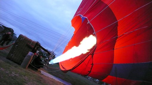 Then the hot air goes in to make it rise...