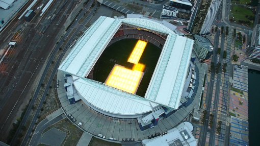 Etihad Stadium (Telstra Dome) - with the roof open and the hydroponic grass regeneration system running...